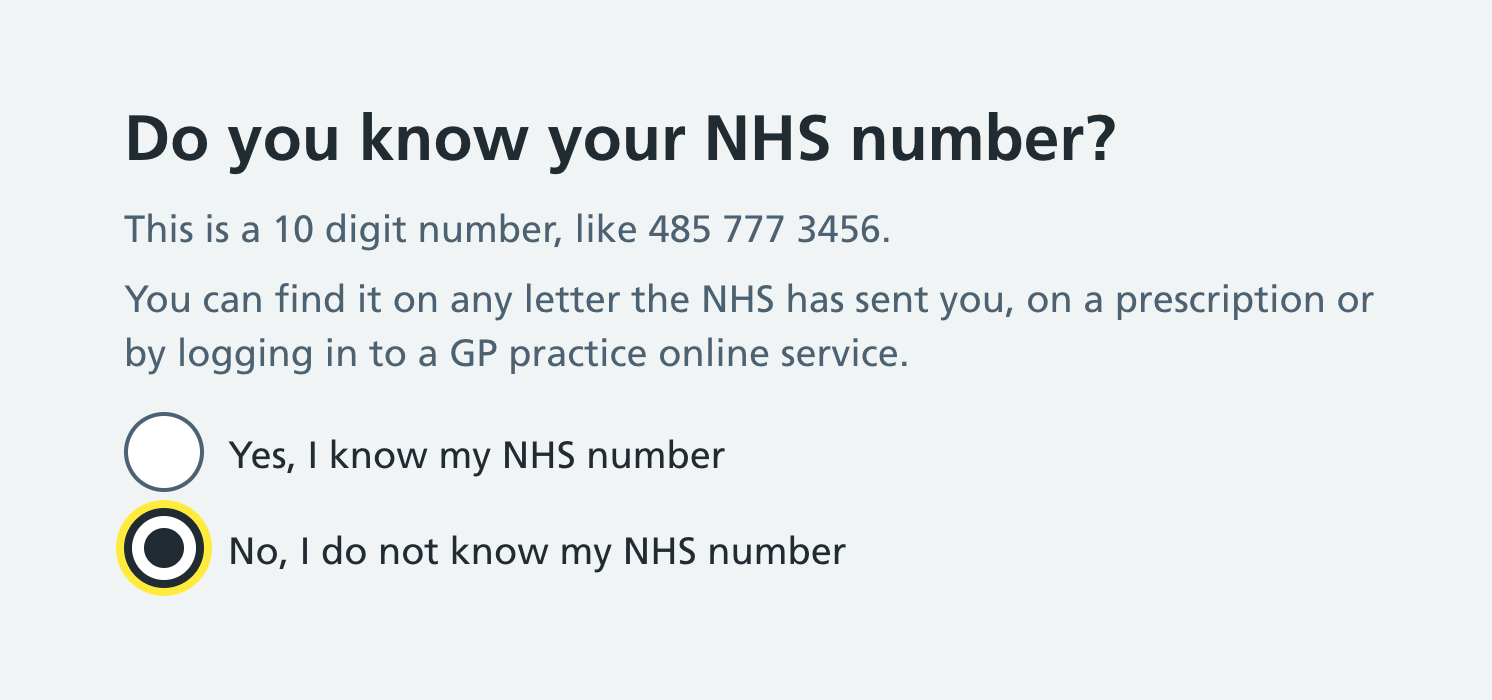 "Yes and no radio options to answer the question ""Do you know your NHS number?"". In this example, the ""No"" option is focused."